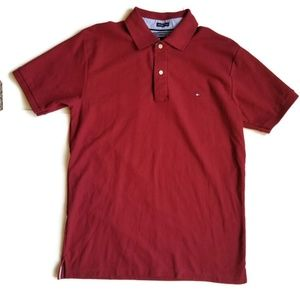Tommy Hilfiger Red 2 Ply 80's Style Cotton Polo